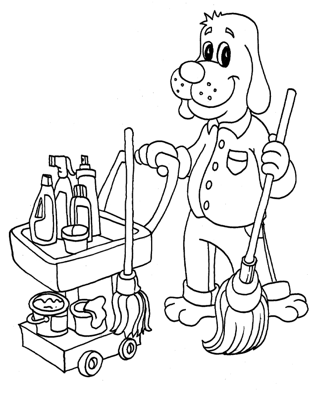 Cleaning Supplies Coloring Pages